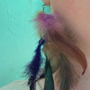 Jewelry - Long Feather Punk Rock Boho Chic Earrings Large